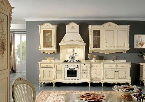An example of customized kitchen produced of solid wood
